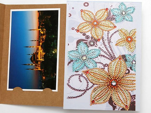 DP Photo album gold and blue flowers