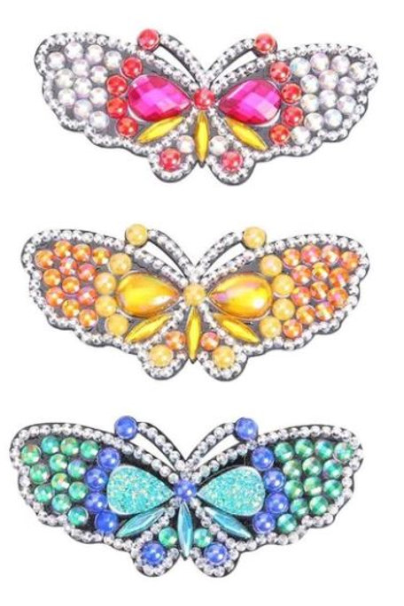 3pcs Pink, yellow, blue butterfly's hair clips