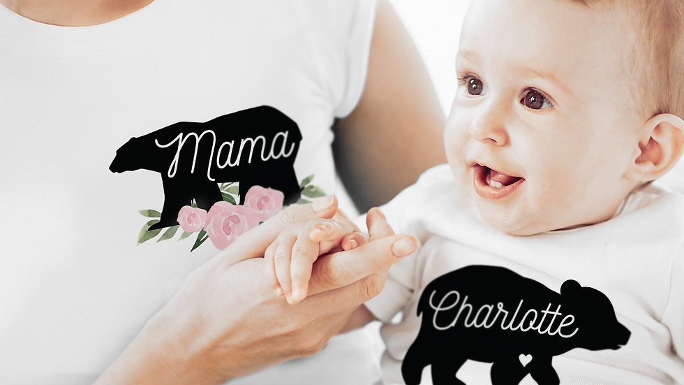 Personalised Mother & Baby Mama Bear Set (Small & 0-3mths)