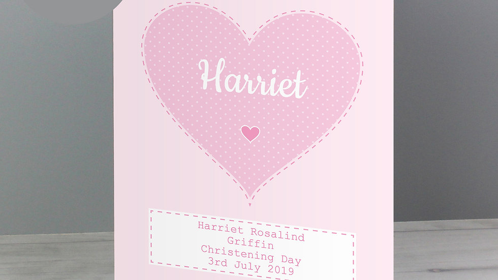 Personalised Heart Stitch & Dot Baby Girl Card