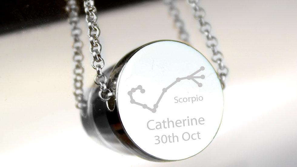 Personalised Scorpio Zodiac Star Sign Silver Tone Necklace
