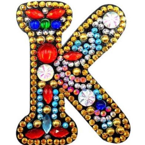 """Letter """"K"""" Diamond painting keyring"""