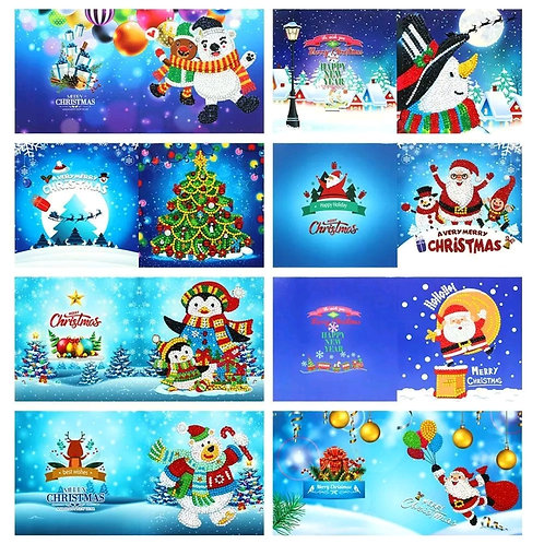 Pack of 8 Christmas card design 3