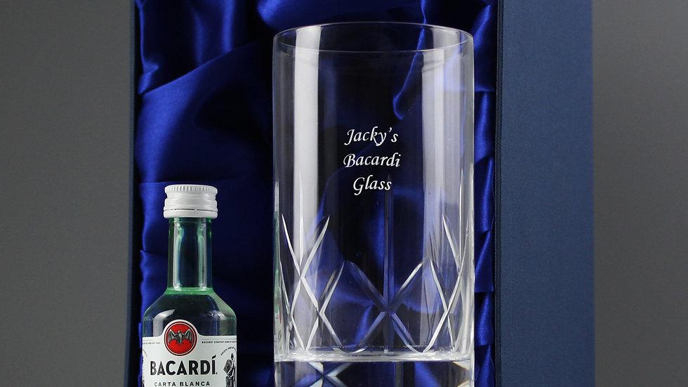 Personalised Cut Crystal Bacardi Set