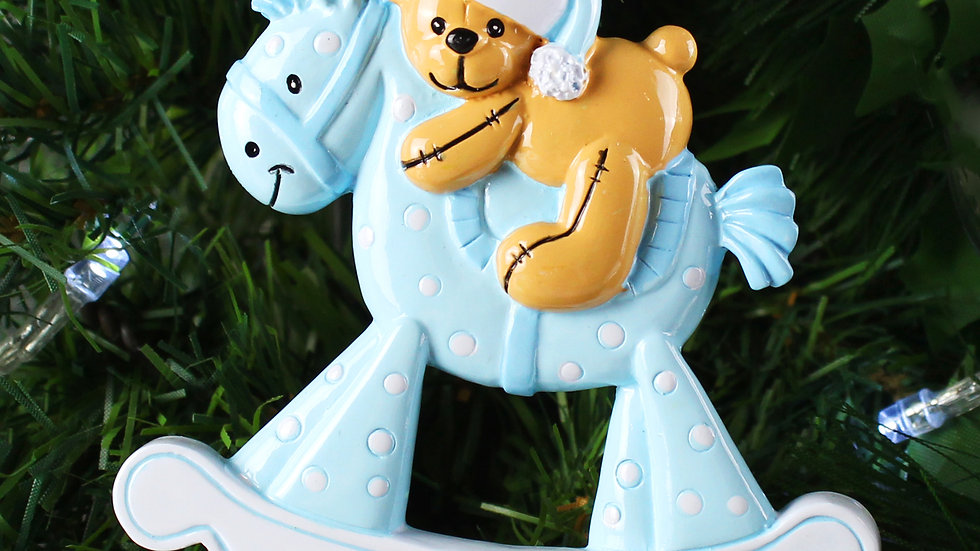 Personalised Blue Rocking Horse Resin Decoration
