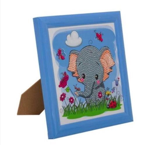 Elephant, 16x16cm Frameable Crystal Art