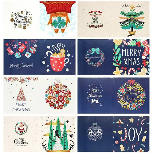 Pack of 8 Christmas cards design 1