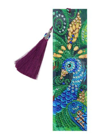 Blue and green peacock bookmark
