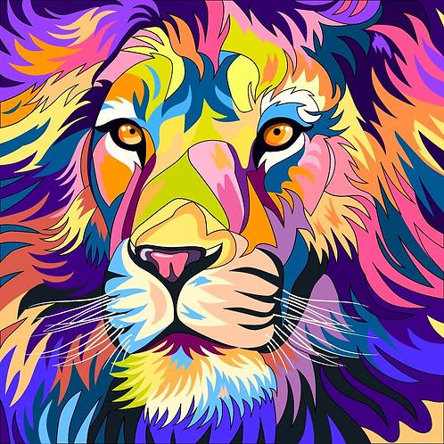 Colourful lion