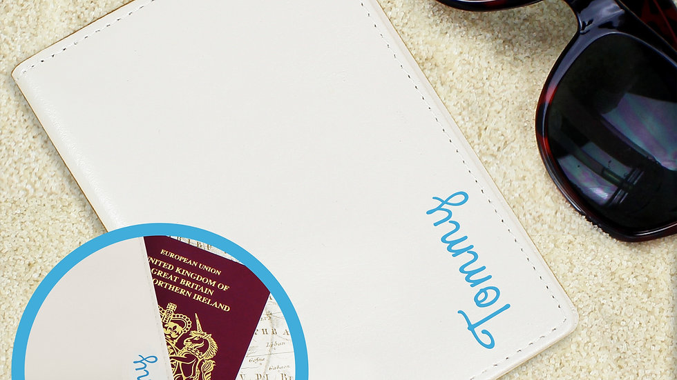 Personalised Blue Name Island Cream Passport Holder