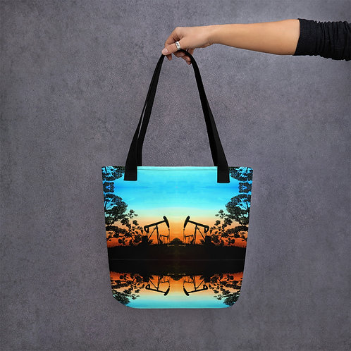 Tote bag: Pumpjack Sunset pattern