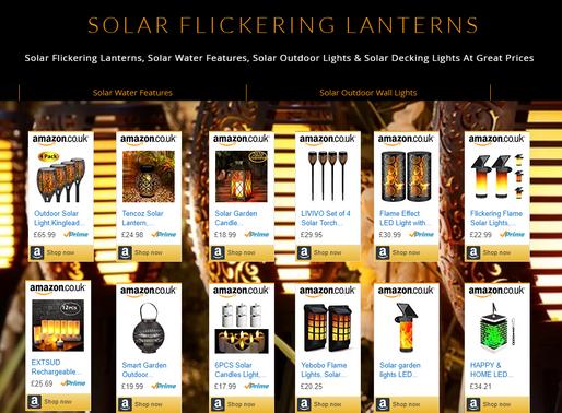 Solar Solar Flickering Lanterns, Solar Water Feature, Solar Outdoor Lights & Solar Decking Lights