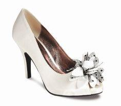 reapshop white satin lace heel shoe