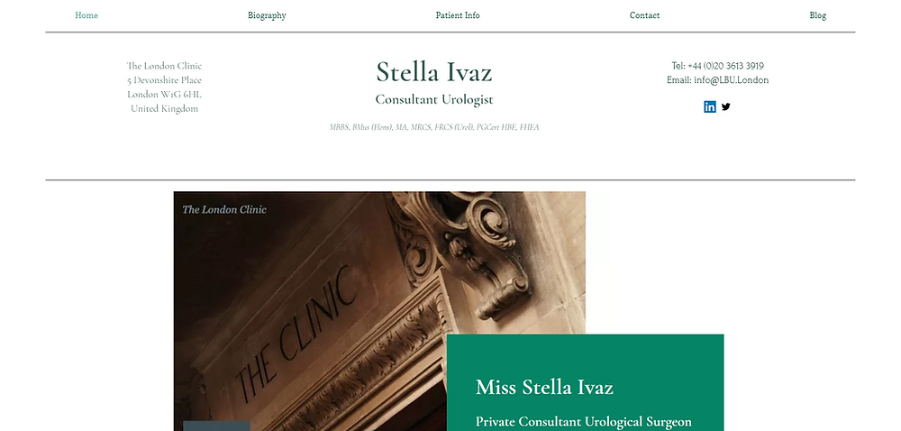 Stella Ivaz Consultant Urologist Based In London with a specialist interest in reconstructive-urology including urethral stricture disease urinary incontinence