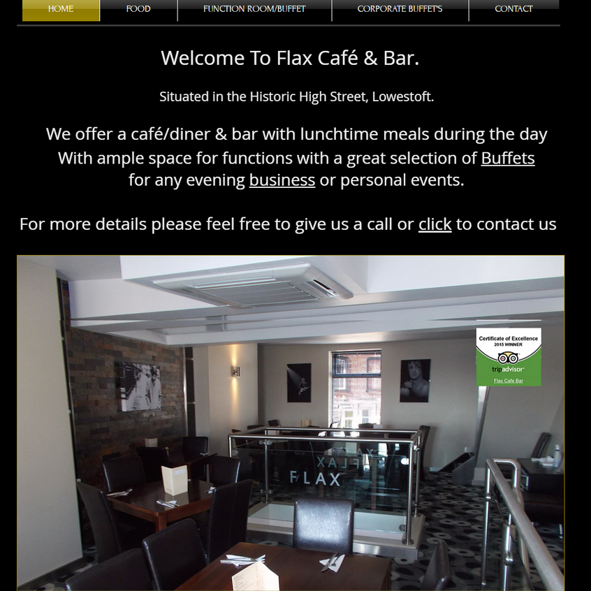 Flax Bar Cafe and Function room Hire Lowestoft