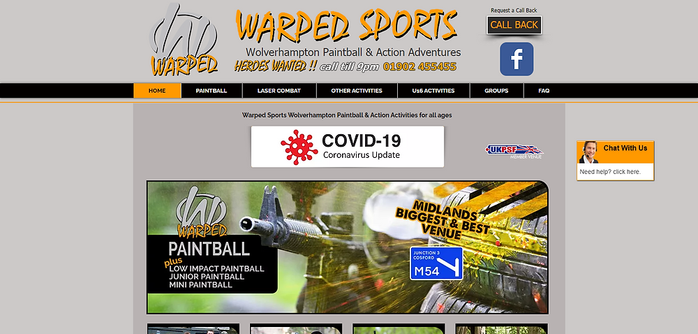 Warped Sports Paintball & Outdoor Action Activities Paintball & Action Activities for all ages Cosford Wolverhampton. (