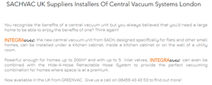 SACHVAC UK Suppliers Installers Of Central Vacuum Systems London