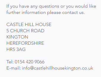 https://www.castlehillhousekington.co.uk/contact