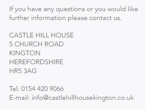 https://www.castlehillhousekington.co.uk/contact
