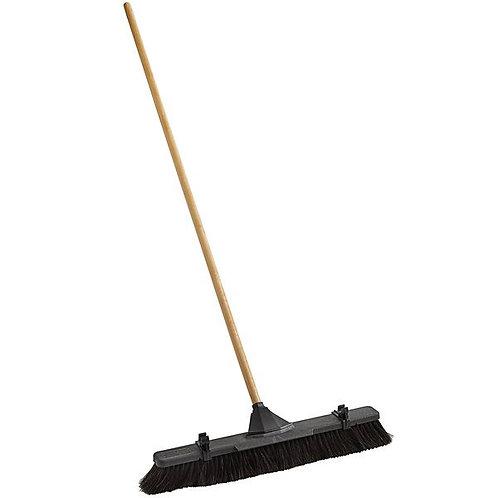 "Rubbermaid 24"" Plastic Push Broom,Fine Horsehair Bristles & Hardwood Handle"