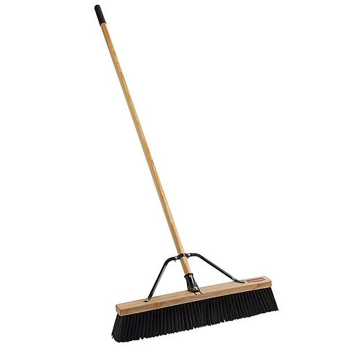 "Rubbermaid 24"" Hardwood Push Broom,Polypropylene Bristles & Hardwood Handle"