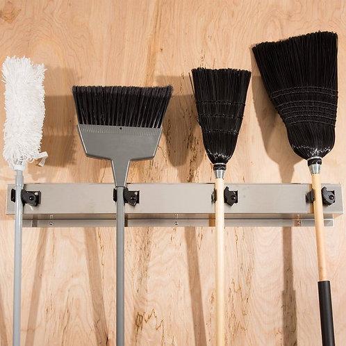 """Bobrick B-223 36"""" Stainless Steel Mop / Broom Rack w/ 4 Holders"""