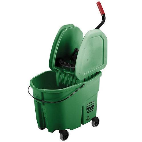 Rubbermaid WaveBrake� 35 Qt. Green Mop Bucket w/ Down Press Wringer