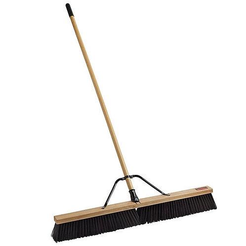 "Rubbermaid 36"" Hardwood Push Broom, Duty Poly Bristles & Hardwood Handle"