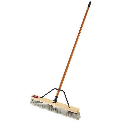 "Rubbermaid 24"" Hardwood Push Broom,PET/Poly Bristle Blend & Hardwood Handle"
