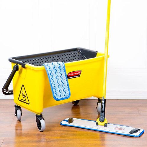 """Rubbermaid HYGEN 18"""" Microfiber Wet Mop Kit w/ Mop, Pads, & Bucket"""