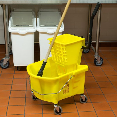 Continental 26 Qt. Yellow Splash Guard Mop Bucket,Side-Press Wringer