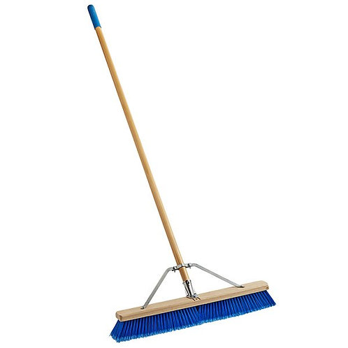 "Carlisle 24"" Hardwood Push Broom,Blue Poly Bristles, Brace, & Hardwood Handle"