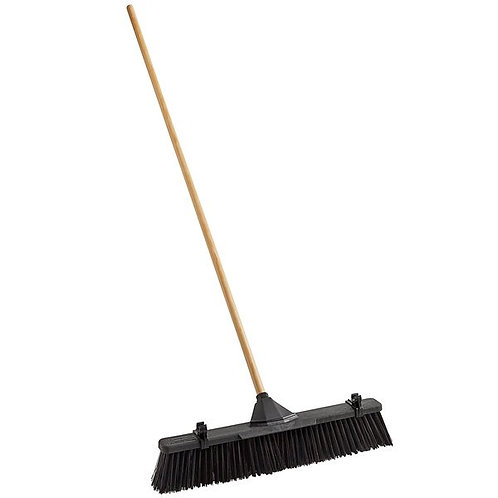 "Rubbermaid 24"" Plastic Push Broom, Duty Poly Bristles & wood Handle,Scrubber"