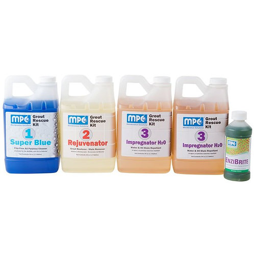 Grout Rescue Kit w/ Super Blue, Rejuvenator, Impregnator H2O, & EnziBrite
