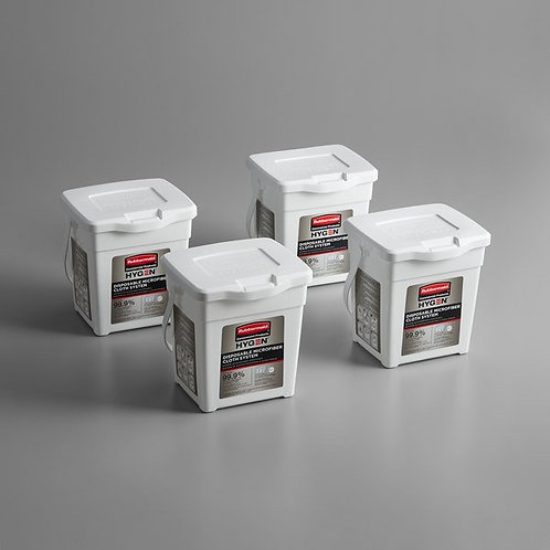 Rubbermaid HYGEN White Disposable Microfiber Cloth Charging Tub - 4/Pack