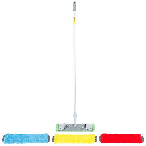 "Unger SmartColor 15.0 16"" Microfiber Mop Pad Kit w/ Mop Handle & Mop Holder"