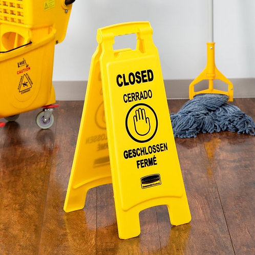 "Rubbermaid 25"" Yellow Double Sided Multi-Lingual Wet Floor Sign - ""Closed"""