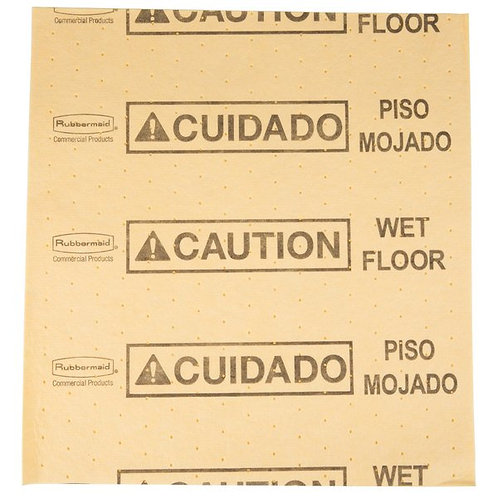 """Rubbermaid Over-The-Spill 18"""" x 16"""" Yellow Large Absorbent Pad - 25/Pack"""
