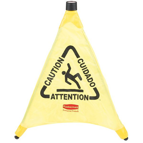 """Rubbermaid 20"""" Yellow Multi-Lingual """"Caution"""" Wet Floor Sign Pop-Up Safety Cone"""