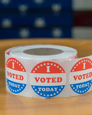 Large roll of I Voted Today stickers rea