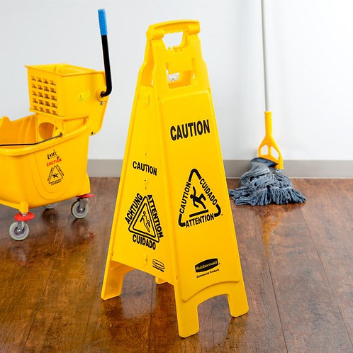 "Rubbermaid 37"" Yellow 4-Sided Multi-Lingual Wet Floor Sign - ""Caution"""