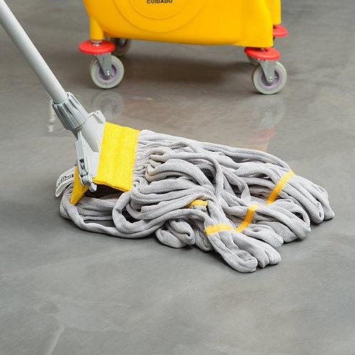 "Unger SmartColor RoughMop 16 oz Yellow Duty Microfiber Tube Mop Head,4 1/2"" Band"