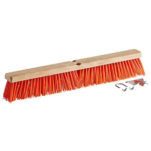 "Carlisle Flo-Pac 24"" Hardwood Push Broom Head,Orange Polypropylene Bristles"