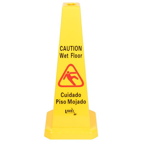 "Lavex Janitorial 27"" Caution Wet Floor Cone-Shaped Sign"