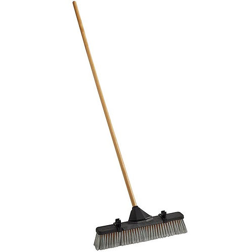 "Rubbermaid 18"" Plastic Push Broom,PET/Poly Bristle Blend & wood Handle,Scraper"