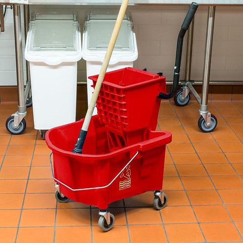 Continental 26 Qt. Red Splash Guard Mop Bucket w/ Side-Press Wringer
