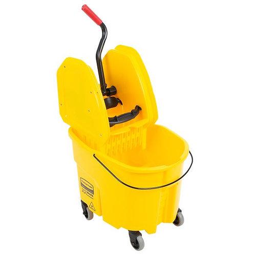 Rubbermaid WaveBrake� 35 Qt. Yellow Mop Bucket w/ Down Press Wringer