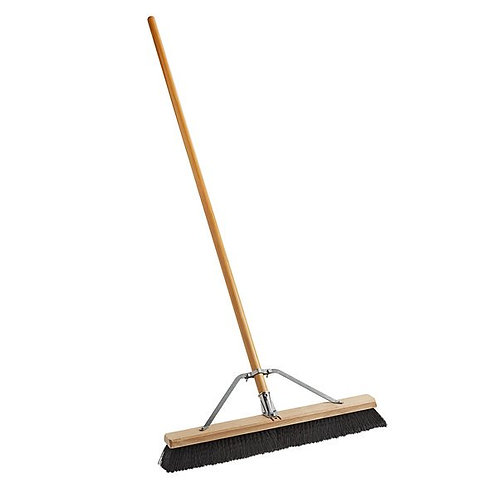 "Carlisle 24"" Hardwood Push Broom,Poly Bristles, Brace, & Hardwood Handle"