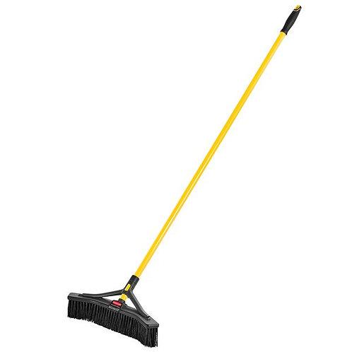 "Rubbermaid Maximizer 18"" Plastic Push Broom,Fine PVC Bristles & Steel Handle"