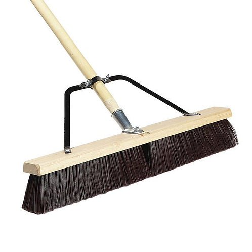 "Carlisle 24"" Hardwood Push Broom,Poly Bristle Blend, Brace, & Hardwood Handle"